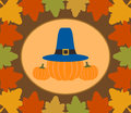 Autumn thanksgiving day background with pumpkin vector Royalty Free Stock Photo