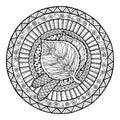 Autumn theme. Mandala tribal doodle ornament. Royalty Free Stock Photo