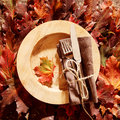 Autumn themed place setting Royalty Free Stock Photo