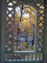 Autumn in Transbaikalia, view from the window of a gazebo on a mountain river