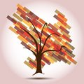 Autumn Tree with Arrow Down of Decreasing Business Royalty Free Stock Images