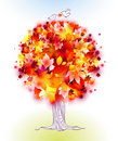 Autumn tree and birds - vector Royalty Free Stock Image