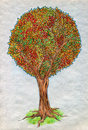 Autumn tree colorful drawn by colored pencils crayons Royalty Free Stock Image