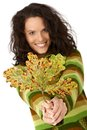 Autumn tree leaf and smiling woman Royalty Free Stock Photos