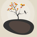 Autumn tree vector funny illustration with and playful leaves Royalty Free Stock Photography