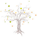 Autumn tree on white backgroun Stock Photography
