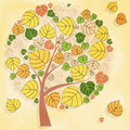 Autumn tree on yellow backgroun beautiful Royalty Free Stock Photography