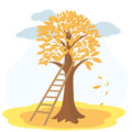 Autumn tree with yellowed leaves and stairs vector illustration of yellow to background of cloudy sky Royalty Free Stock Photos