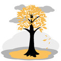 Autumn tree with yellowed leaves vector illustration of Royalty Free Stock Photo