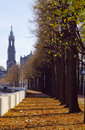 Autumn trees in Dresden city Royalty Free Stock Image