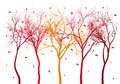 Autumn trees with falling leaves, vector Royalty Free Stock Photo