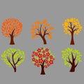 Autumn trees on a gray