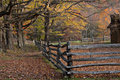 Autumn Trees and Rustic Fence Royalty Free Stock Photo