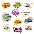 Autumn typographic. Fall leaf. Vector illustration EPS 10 Royalty Free Stock Photo