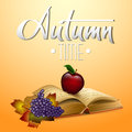 Autumn vector background with  leaves and old open book, red apple, grapes. Royalty Free Stock Photo