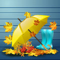 Autumn vector background with leaves and yellow umbrella, rubber boots.