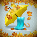Autumn vector background with leaves, yellow umbrella and rubber boots under the rain.