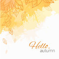 Autumn vector cover with doodle leaves and yellow and orange blobs for your business Royalty Free Stock Images