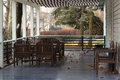 Autumn veranda with tables and chairs Royalty Free Stock Photo