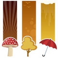Autumn vertical banners a collection of three autumnal with a mushroom a yellow tree and a red umbrella on yellow and brown Royalty Free Stock Images
