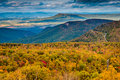 Autumn view of the blue ridge mountains and shenandoah valley fr from loft mountain national park virginia Stock Images