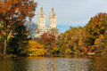 Autumn view from central park new york across pound toward west city Royalty Free Stock Photography