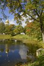 Autumn view on the pond and feodorovsky cathedral in pushkin tzarskoye selo st peterburg russia Stock Images