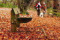 Autumn walk a young family with dog waling in countryside in Royalty Free Stock Photo