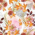 Autumn watercolor floral seamless pattern. Royalty Free Stock Photo