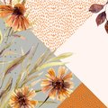 Autumn watercolor wreath on geometric background with flowers, leaves, doodles. Royalty Free Stock Photo