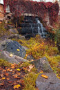 Autumn waterfall in the park old Royalty Free Stock Photos
