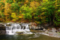 Autumn waterfall a small at taughannock falls state park which is located in ulysses new york Stock Photography
