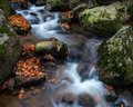 Autumn waterfall with stones in forest Stock Photo