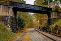 Autumn west virginia train line girder bridge Royalty Free Stock Photography