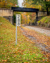 Autumn west virginia train line mile marker Stock Photo