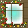 Autumn window view Royalty Free Stock Photos