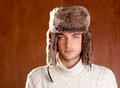 Autumn winter man with brown fur cup hat Stock Image