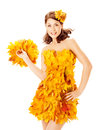 Autumn woman in  dress of maple leaves over white Royalty Free Stock Photo