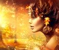 Autumn woman fantasy fashion portrait Lizenzfreies Stockfoto