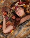Autumn Woman On Fur Blanket