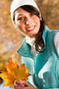 Autumn woman outdoors Stock Photos