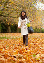 Autumn woman outdoors Royalty Free Stock Image