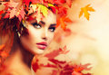 Autumn woman portrait Royalty-vrije Stock Foto