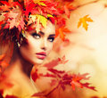 Autumn woman portrait beauty fashion model girl Royalty Free Stock Photo