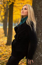 Autumn woman portrait on leafs background Royalty Free Stock Photography