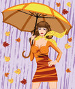 Autumn woman and umbrella Stock Images