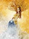 Autumn Woman Winter Mask, Seasons Concept, Fashion Beauty Art Royalty Free Stock Photo