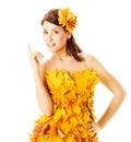 Autumn Woman In Yellow Dress O...
