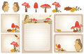 Autumn woodland stationery set of with hedgehog mushrooms leaves scene Royalty Free Stock Photos