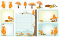 Autumn woodland stationery set of with squirrel mushrooms leaves scene Royalty Free Stock Photos